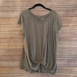 Zella gray knit front knot workout top